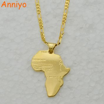 Anniyo 8 Style/Map of Africa Pendant Necklace Chain 45cm/60cm African Map set Jewelry Gold Color Jewellry for Women/Men/Girl