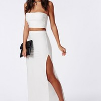 Missguided - Thigh High Split Maxi Skirt White