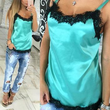 CREYYN6 Fashion Sexy Women Camisoles  Summer Casual Lace Patchwork Vest Tops Sleeveless Tank Tops T-Shirt