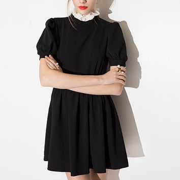 Black Ruffled Collared Chiffon Mini Dress