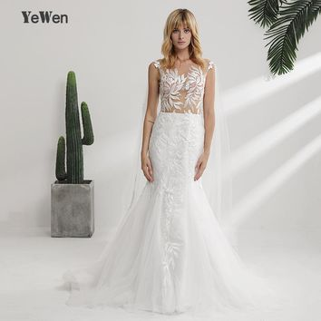 New Fashion Lace Mermaid Champagne and Ivory Wedding Dresses 2018 with removeable jacket Bridal Gown plus Size Wedding Dresses