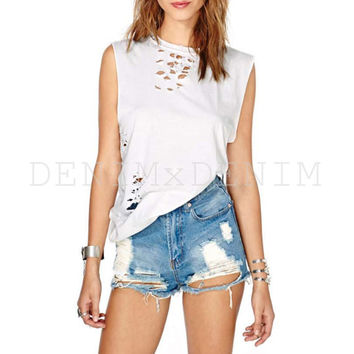 Summer Sky Distressed Denim Cutoff Shorts Vintage Jeans Shredded
