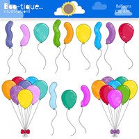 Balloons Digital Clipart. Balloons Clip Art for Instant Download. Birthday Clipart. Celebration Clip Art.