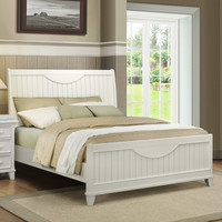 Alderson Cottage White Beadboard Crescent Shaped Queen-size Bed | Overstock.com