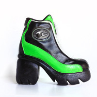 90's Neon Green Leather Chunky Platform Industrial Zip up Ankle Boots // 7.5