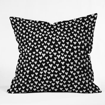 Elisabeth Fredriksson Little Hearts On Black Throw Pillow