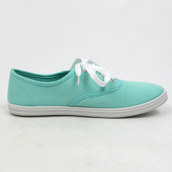 """Buddy"" Canvas Lace Up Walking Sneakers - Mint"