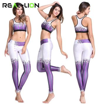 RealLion Women Sport Yoga Set for Running Gym Girl Sportswear Suit Lady Elastic Bra Pants Yoga Suit Fitness Workout Clothing