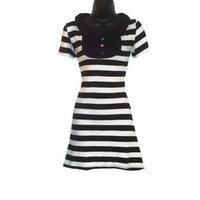 Jailbird Black and White Striped Peter Pan Collar Womens Rockabilly Sailor Dress