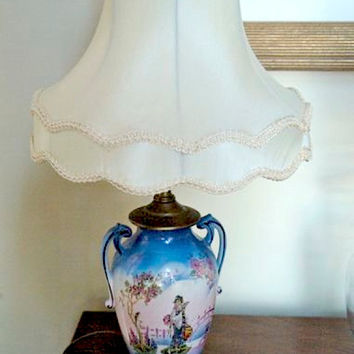 Vintage Lamp 1930's, English Art Pottery , Milk glass finial, Hand painted Oriental Design, French Cottage Chic Decor, blue and white