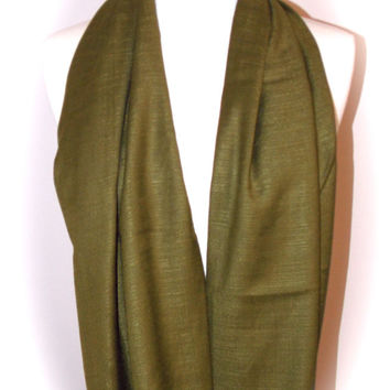 Olive green scarf/Christmas scarf/olive green infinity scarf/silky pashmina infinity scarf