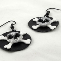 Black and Silver Paper Skull Earrings by theotherstacey on Etsy