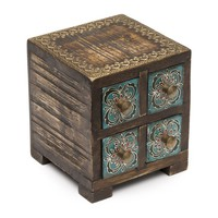 Antiqued Metal and Wood Compartment Box - Matr Boomie