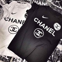 CHANNEL New Fashion Flame Logo T-Shirt Two Color