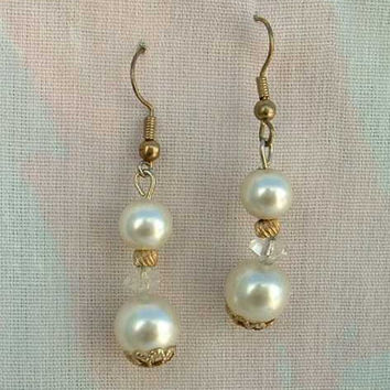 Double Faux Pearl Dangle Earrings Wedding Jewelry