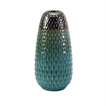 Hand Cut Vase - Teal And Silver