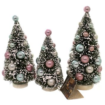 Christmas PASTEL BOTLE BRUSH TREES Plastic Christmas Vintage Sn6801