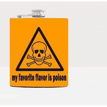 Scull hip flask - Flask - Gifts for men - 21st birthday gift - Guys birthday gift - Orange-Alcohol-Whiskey-Funny