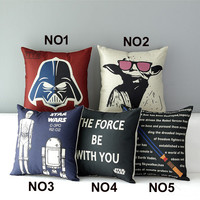 "18""  Square Star War Cotton Linen Cushion Cover Ikea Sofa Decorative Throw Pillow Home Chair Car Pillow Case almofadas HD801"