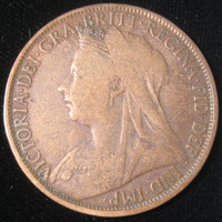 British Coin, 1895 Great Britain Victoria Coin, Large Penny Coin, Collectible Coin, Vintage COIN, British Copper Coin, Queen Victoria Coin