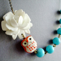 Owl Necklace,Owl Jewelry,Aqua Jewelry,Flower Necklace,Bridesmaid Necklace (Free matching earrings)