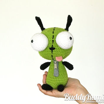 Gir Amigurumi Crochet Invader Zim Finished item Ready to ship