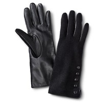 Women's Mixed Material Leather Gloves with Button Detail - Black