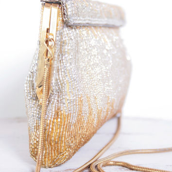 Beautiful Vintage Silver and Gold Beaded Rectangular Clutch Purse with Gold Slinky Shoulder Strap
