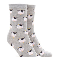 Cow Print Crew Socks
