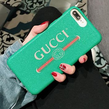 Gucci  iPhone X iPhone 8 iPhone 8 plus - Popular Cute Hot Sale Deal Matte Couple Phone Case For iphone 6 6s 6plus 6s plus iPhone 7 iPhone 7 plus Green