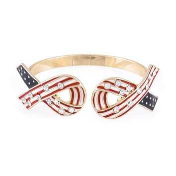 Red White and Blue American Flag Ribbon Cuff Bracelet