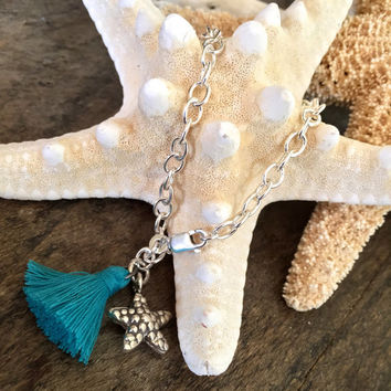 Starfish Tassel Bracelet, Beach Boho Charm Bracelet, Summer Jewelry by Two Silver Sisters