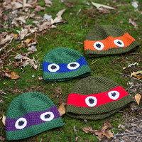 Teenage Mutant Ninja Turtle crochet eye hats