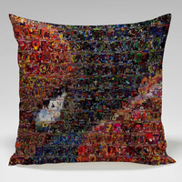 spiderman mosaic marvel comics Square Pillow Case Custom Zippered Pillow Case one side and two side