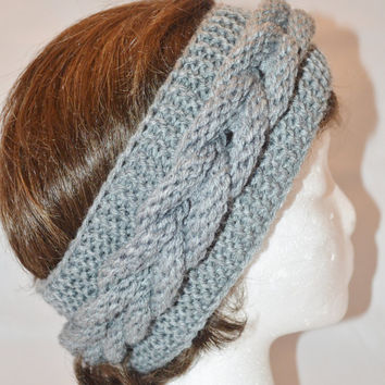 Knitted Headband, Knit Headband, Knit Head Band, Ear Warmers, Cable Knit Headband
