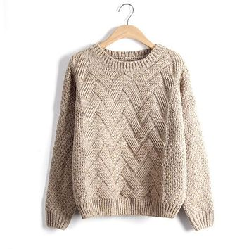 Pull Femme Autumn Winter Women Sweaters And Pullovers Plaid Thick Knitting Mohair Sweater Female Loose Variegated