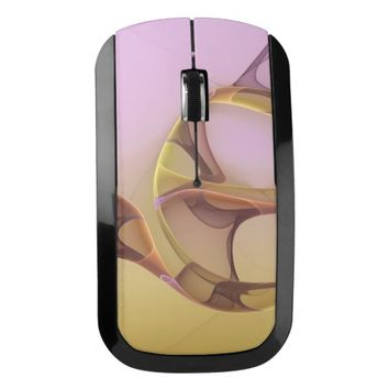 Abstract Motions, Modern Light Pink Yellow Fractal Wireless Mouse