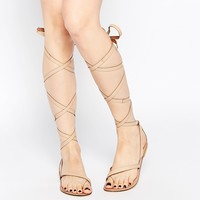 ASOS FAIRY Tie Leg Leather Sandals at asos.com