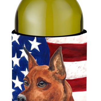 Miniature Pinscher Patriotic Wine Bottle Beverge Insulator Hugger BB9656LITERK