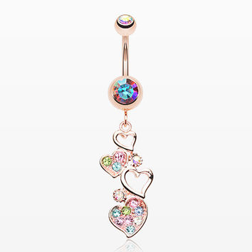 Rose Gold Sparkling Heart Cluster Belly Button Ring