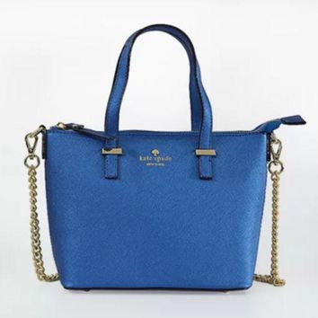 ac NOVQ2A Spade Women Shopping Leather Tote Handbag Blue