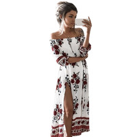 Casual Vintage Summer Boho Beach Dresses Sexy Off Shoulder Slash Neck Floral Printed Party Dress Long Split Robe Femme