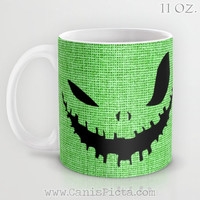 Nightmare Before Christmas Mug Ceramic Holiday Xmas Movie Winter 90s Gift Idea Retro Oogie Boogie Man Monster Cup Hot Drink Halloween Green