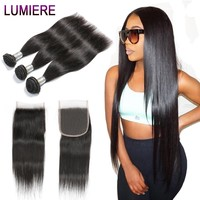 Lumiere Hair Brazilian Hair Weave Bundles With Lace Closure Non Remy Straight Human Hair Bundles 2/3/4 Bundles With Closure
