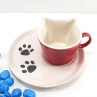 Cat cup and saucer, ceramic cup and saucer, cat ceramic cup, cat ceramic cup and saucer, clay cat cup, cat cup, pottery cat cup, demitasse