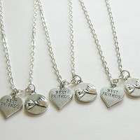 3 Best Friends Necklaces, Pinky Promise And Heart Best Friend, Three Best Friends, 3 BFF Necklaces, Three Friends Gifts, 3 Friends Jewelry