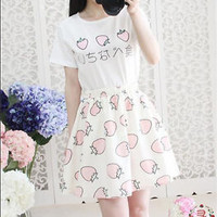 New Girls Summer Day Lolita Kawaii Sweet Strawberry Costume T-shirt tops + Skirt