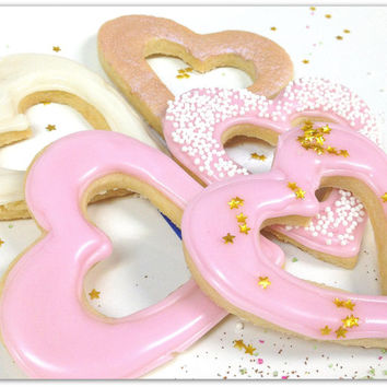 Pink Heart Sugar Cookies Iced Ivory Gold Pearlized Open Heart Decorated Cookies Valentines
