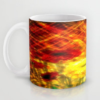 Flowers, Light, Yellow, Red, Joy - Ceramic Mug, 2 Sizes Available - Kitchen, Bathroom, New Home or Apartment, Gift - Made To Order-J#77