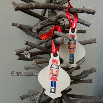 Christmas Ornaments Collectible Nutcracker Pottery Holiday Decoration Ceramic Ornament Set of 2 Gift
